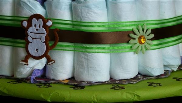 closet up of diaper cake